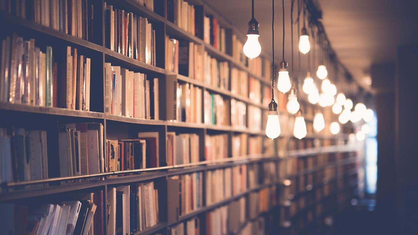 Book shelves and vintage lights